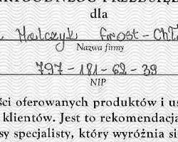 Certyfikat Frost-Chłód
